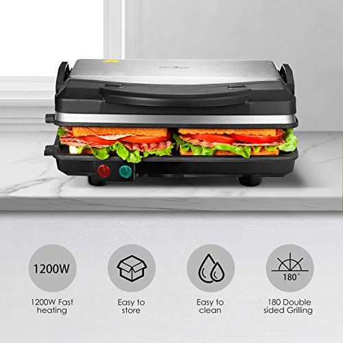 Kealive Panini Press Grill, 4-Slice Extra Large Gourmet Sandwich Maker Grill, Non-Stick Coated Plates, Opens 180 Degrees to Fit Any Type or Size of Food, Stainless Steel Surface and Drip Tray, 1200W by Kealive (Image #3)