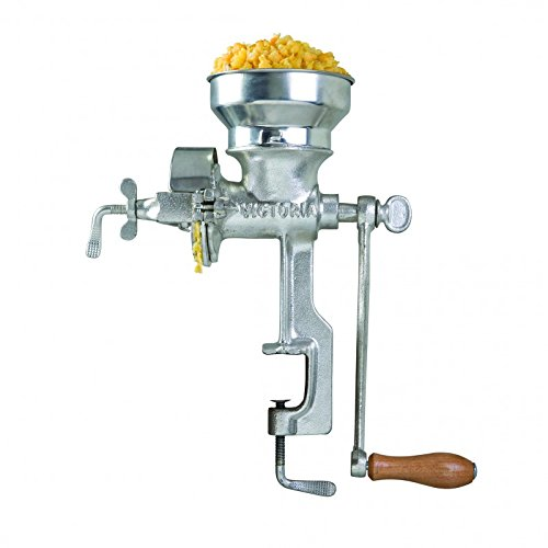 Victoria Professional Manual Grain Grinder - Table Clamp Corn Mill with Low Hopper, Cast Iron