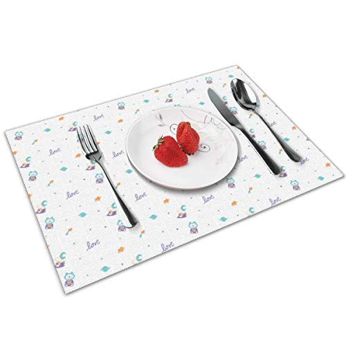 chang jin you Placemats Set of 4,Intergalactic Love Light Heat-Resistant Placemats Washable Table Mats for Kitchen Dining Table