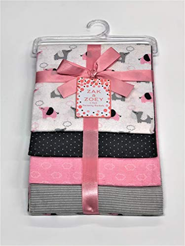 "Lovable and Cozy 4-Pack Receiving Baby Blankets - 100% Cotton 26"" x 26"" Your Little One Will Love (Pink Elephant)"