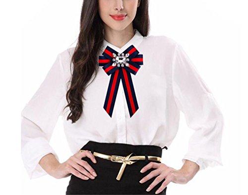 Rhinestone Ribbon Pin (Women Bowknot Brooches Pins Ribbon Vintage Collar Shirt Dress Jewelry Necktie)
