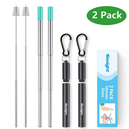 Tomight 2 Pack Telescopic Reusable Straws, Portable Stainless Steel Metal Straws with Case Cleaning Brush Carabiner Silicone Tips Keychain, Perfect for Travel, Home,Office