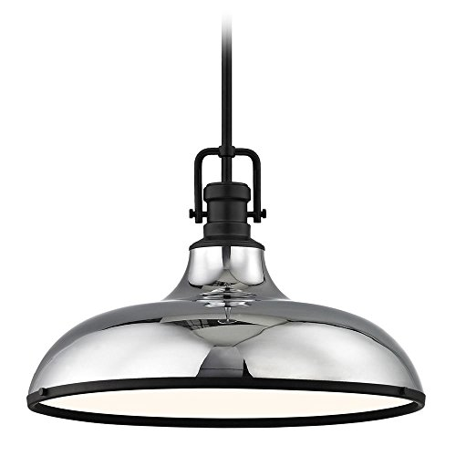 Hung Chrome Pendant - Industrial Chrome Large Pendant Light with Black Accents 18.38-Inch Wide