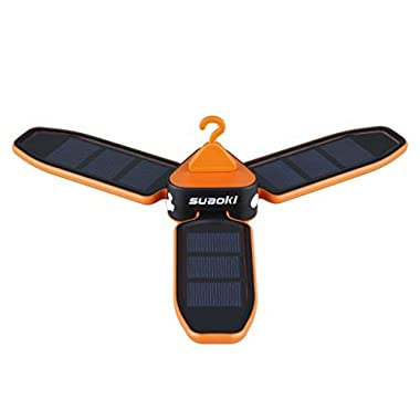 Suaoki Collapsible Clover Style USB Charging and Solar Panel 18 LED Tent Lantern Lights - Orange