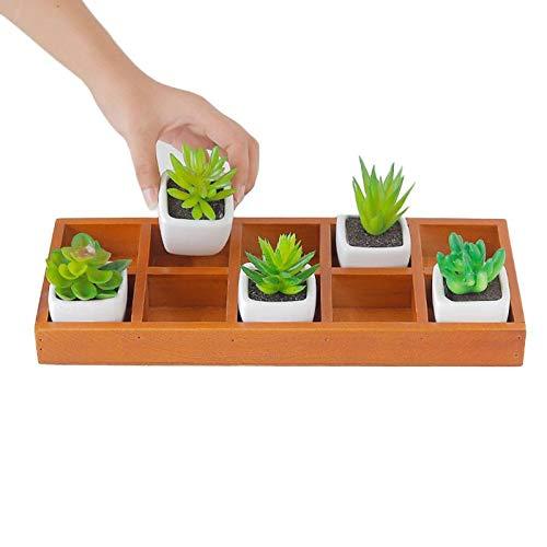 Rectangle Planter - Best Quality - Storage Boxes & Bins - New 10 Square Rectangular Wooden Pattern Succulent Planter Plant Container Box Fashion Nursery Plant Desktop Storage Box - 1 PCs