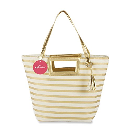(Kate Aspen Striped Metallic Gold Tote with Tassel)