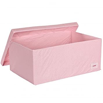 High Quality Minene Large Storage Box With Lid Pink With White Dots   Storage Box, Large  Fabric