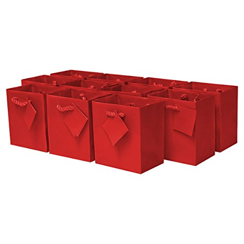 Extra Small Premium Quality Paper Gift Bags/Party Favor Bags For Birthday Parties, Weddings, Holidays and All Occasions (12 Gift Bags In One Order) 4 x 2.75 x 4.5 x 2.75  (red)