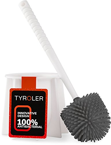 Tyroler Bright Tools Antibacterial Toilet Brush SetBathroom,Cleaning Toilet Bowl (White)