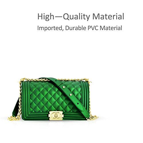 DORIS Verde Acolchado de Negro Hombro NICOLE Cadena de Acolchado Bolso Bolso Cuadros amp; Cruzados pequeño Bolso de Cadena Tqq5Rw