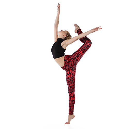 Alexandra Collection Womens Love Dance Athletic Workout Leggings Pink/Black Small by Alexandra Collection (Image #2)
