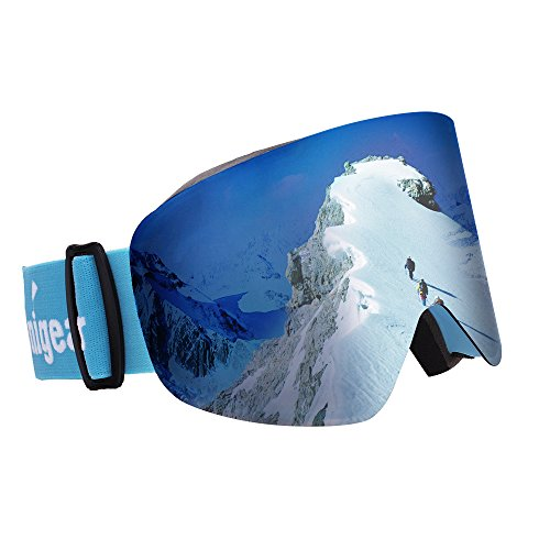 Unigear OTG Ski Goggles, Over Glasses Snowboard Snow Cylindrical Anti-fog Goggles for Men & Women with Interchangeable lens and 100% UV400 Protection, Portable Box - Apx 2 Dragon