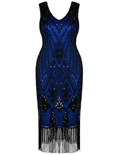 Silver 1920s Dress (PrettyGuide Women 1920s 1920s Gatsby Cocktail Sequin Art Deco Flapper Dress XXL Blue)