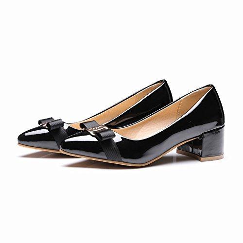 Charm Foot Womens Bow Pointed Toe Chunky Heels Pumps Shoes Black kieP2E