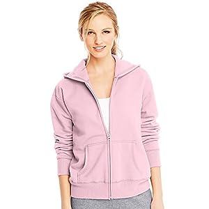 Hanes ComfortSoft EcoSmart Women's Full-Zip Hoodie Sweatshirt_Pale Pink_M