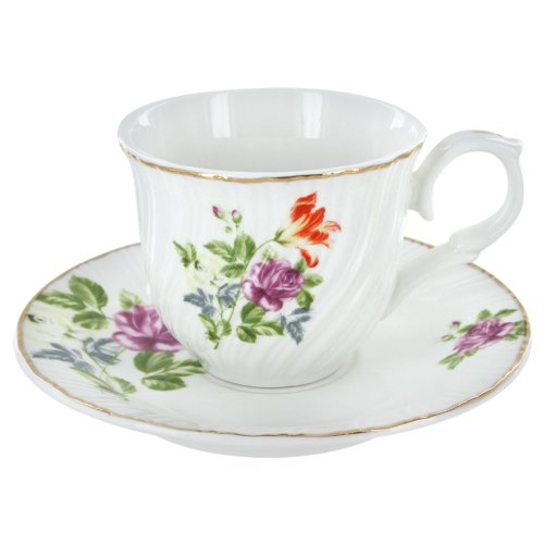 Summertime Flowers Porcelain Tea Cups and Saucers - Set of 6