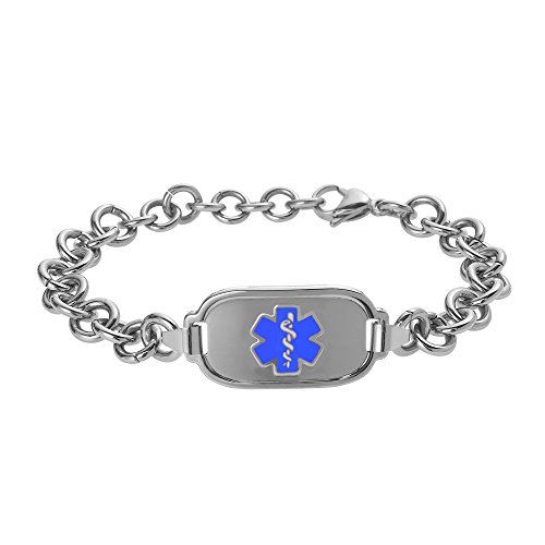 Elite Titanium Bracelets - Divoti Custom Engraved Titan Elite Pure Titanium Medical Alert Bracelet for Women - 8