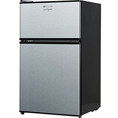 Avalon by Keyton Refrigerator & Freezer with Double Doors - 3.1 Cubic Feet, Compact, Adjustable Legs, Interior Light & Adjustable Thermostat - UL & Energy Star Certified - Stainless Steel
