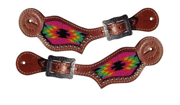 New Horse TACK! Showman Ladies Size Leather Spur Straps w//Sugar Skull Print
