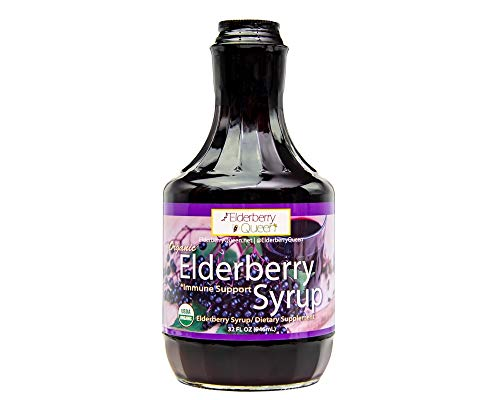 Organic Elderberry Liquid Syrup by Elderberry Queen- Sambucus, Aronia Berry, Pure Natural Certified Organic Immune Support Herbal Supplement (32oz)