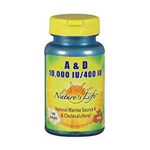 Nature's Life A and D, 10,000 IU/400 IU Softgels, 100 Count (Pack of 2)