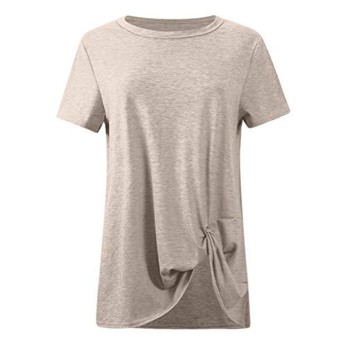 TnaIolral Women Tops Loose Sleeveless O-Neck Solid T-Shirt Blouse Khaki by TnaIolral (Image #2)