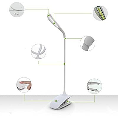 ActionFly Portable Flexible Neck LED Light Table Desk Reading Lamp /touch Sensor 3-Level Adjustable Brightness book Light /Rechargeable Lithium battery /Energy Saving USB Charge LED Desk Lamp