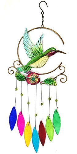 Bejeweled Display Unique Beautiful Hummingbird w/ Stained Glass Wind Chimes - Flowers Stained Glass Wind Chimes