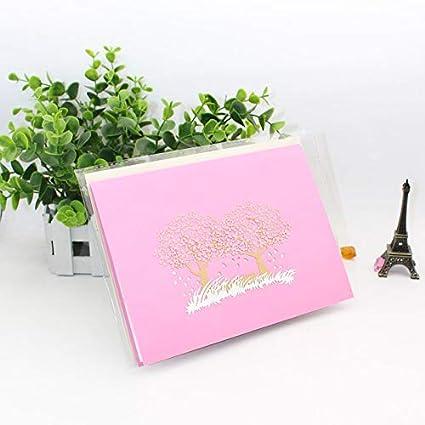 Tarjeta desplegable con diseño de flor de cerezo, tarjeta 3D ...