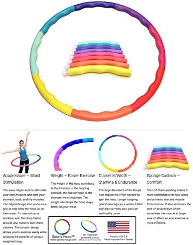 Sports Hoop Weighted Hoop, Weight Loss ACU Hoop 3L - 3.3lb (41 inches Wide) Large, Weighted Fitness Exercise Hula Hoop 7