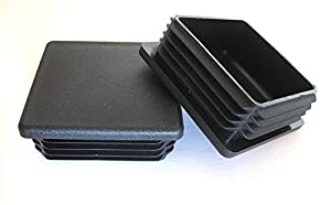 """(Pack of 4) - 1 1/2"""" - 1.5 Inch Square Black Plastic 14-20 Ga ( 1.35""""-1.42"""" ID) Tubing Plug, End Cap -Steel Fence Post Pipe Tube Cover - Furniture sliding Inserts - End Caps for Fitness Equipment"""