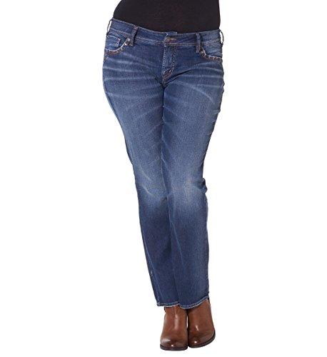 Silver Jeans Women's Plus-Size Suki Mid Rise Slim Bootcut Jean, Medium Indigo Wash, 14x31