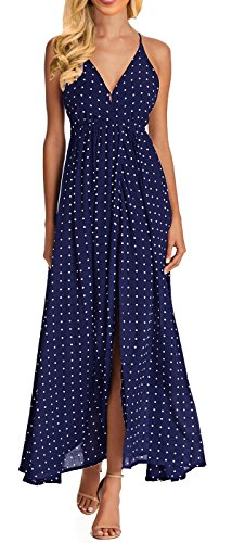 Women V-Neck Polka Dot Print Front Split Spaghetti Strap Backless Boho Long Maxi Dress