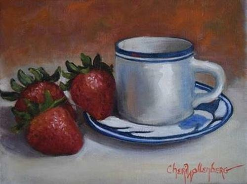 """Strawberries and Cup and Saucer by Cheri Wollenberg - 29"""" x 22"""" Premium Canvas Print"""