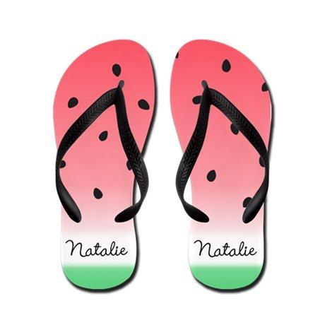 Lplpol Name Custom Watermelon Ombre Flip Flops for Kids L with Black Flip Flops Belt