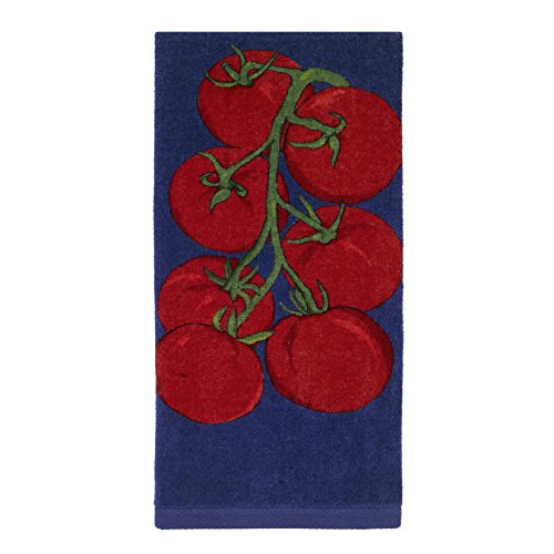 All-Clad Textiles 100-percent Cotton Fiber Reactive Tomato Print Kitchen Towel, 17-inch x 30-inch, Cobalt Blue - John Ritzenthaler Towel