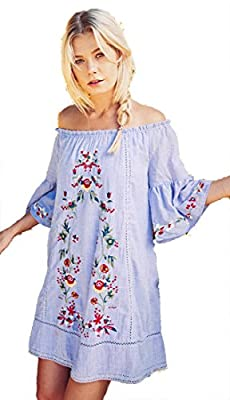 Umgee Women's Bohemian Embroidered Off Shoulder Tunic or Dress