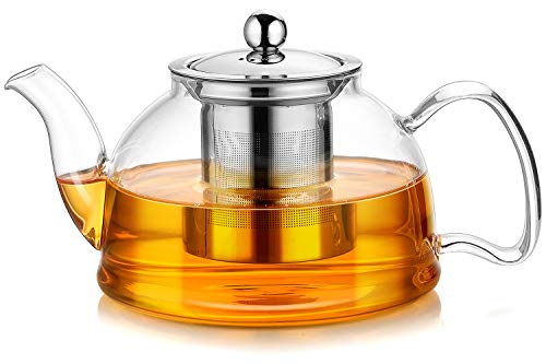 Artcome 35 Ounce Glass Teapot with Stainless Steel Infuser & Lid, Stovetop Safe Tea Pot with Flat Bottom, Blooming & Loose Leaf Teapots, 1050 ml