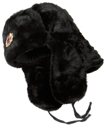 Hat Russian Ushanka Winter (Russian ushanka winter hat Black-64 with Soviet Army soldier insignia)