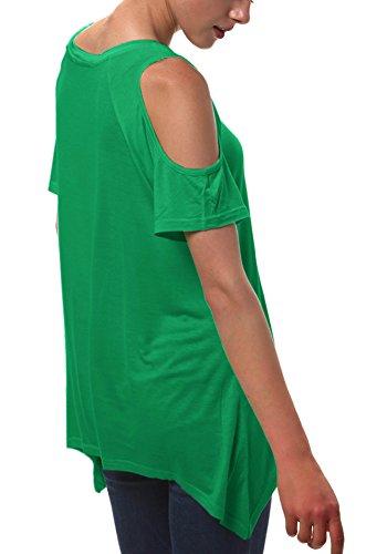 Tunica Verde off Donna Orlo Moda Spalla GoCo Camicia Urban Tops Smeraldo Irregolare Shirt T BwHqfXgx