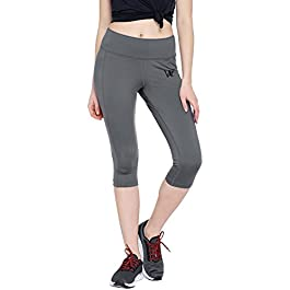 WOMENS SOLID GREY CALF LENGTH TIGHTS FOR CASUAL & SPORTSWEAR