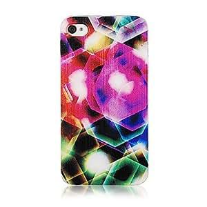 MOM Fashion Colorful Gem Halo Pattern Transparent Frame Back Case for iPhone 4/4S
