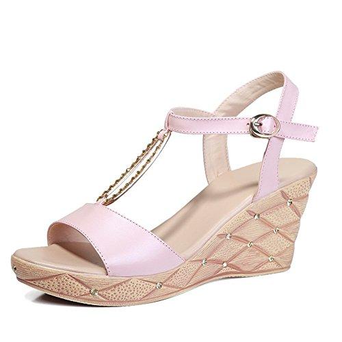 Adee Womens Open-Toe Buckle Leather Sandals Beige WprG68