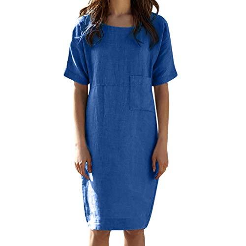TIFENNY Cotton Linen Dresses for Women Summer Short Sleeve Linen Beach Dress Loose A-line Party Sundress Pocket Dress Blue]()