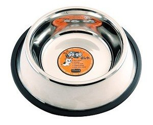 GoGo Pet Products Stainless Steel No Skid/No Tip Pet Dog Bowl, 64-Ounce