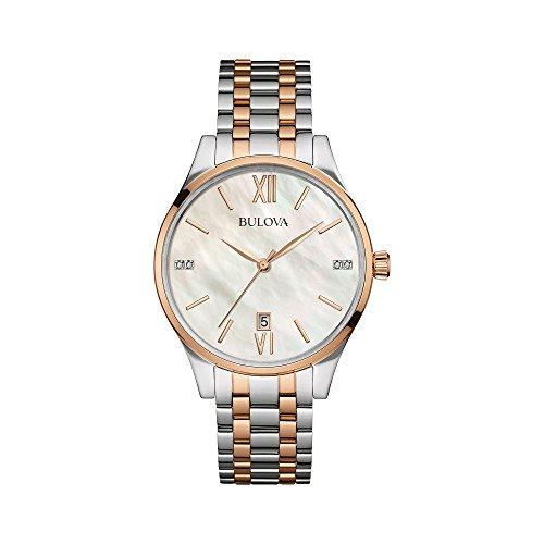 Bulova Diamond Accent Watch (Bulova Diamonds Womens Diamond-Accent Two-Tone Stainless Steel Bracelet Watch 98P150)