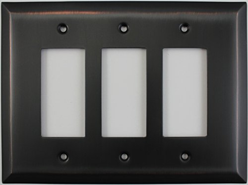 Jumbo Stamped Oil Rubbed Bronze Three Gang GFI/Rocker Switch Wall Plate by Classic Accents