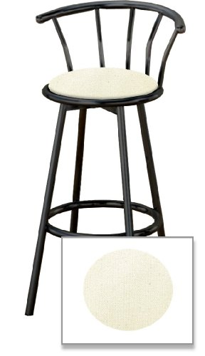 new 29 tall black metal finish swivel seat bar stools with an off white canvas seat cushions. Black Bedroom Furniture Sets. Home Design Ideas