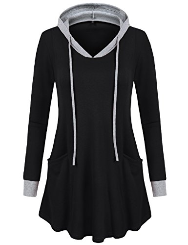 SUNGLORY Women's Pullover Hooded Sweatshirt Long Sleeve Color Block Tunic Top With Pockets Black (Tunic Top Hooded)