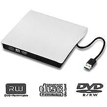 External DVD Drive USB 3.0,tengertang External CD DVD Drive PC,Burner DVD +RW/CD +RW Drive for Apple Mac Macbook Pro, Windows 10 and 8 Laptop Desktops (white)